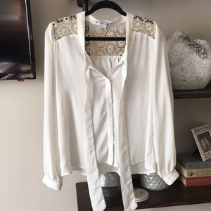 F21 cream and gold lace detailed blouse
